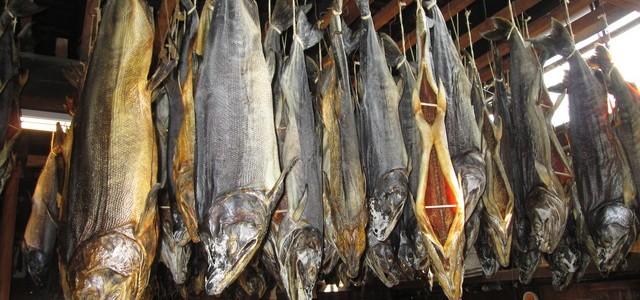 村上の塩引鮭風景